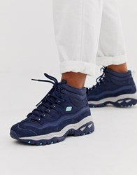 Skechers Energy Suede Overlay Lace Up Trainers Navy