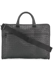 Bottega Veneta Woven Briefcase Calf Leather Grey