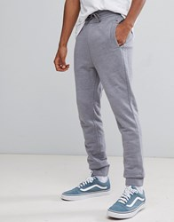 Tommy Jeans Flag Logo Cuffed Joggers In Grey Marl Light Grey Heather