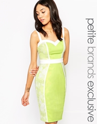 Paper Dolls Petite Sweetheart Neckline Pencil Dress With Lace Panels Lime