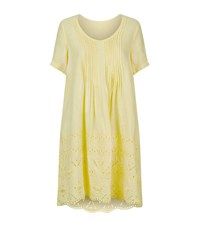 120 Lino Broderie Anglaise Linen Dress Female Yellow