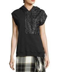 Public School Bice Cap Sleeve Lace And French Terry Hooded Sweatshirt Black