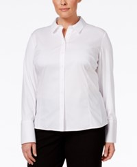 Calvin Klein Plus Size Fit Solutions Wrinkle Resistant Shirt White
