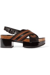 Robert Clergerie Tangle Leather Trimmed Woven Satin Sandals Dark Brown