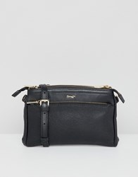 Paul Costelloe Real Leather Double Pocket Zip Cross Body Bag Black