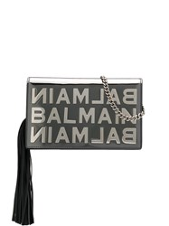 Balmain Mini Bbox Mirrored Clutch Silver