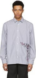 D By D Black And White Striped Embroidered Shirt