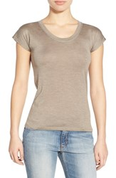 Joe's Jeans Women's Joe's 'Tanis' Short Sleeve Silk Tee Heather Army