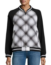 Highline Collective Plaid Baseball Jacket Black White