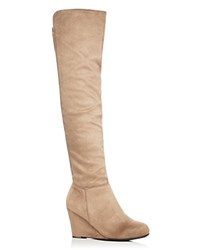 Chinese Laundry Faux Suede Over The Knee Wedge Boots Compare At 90 Taupe