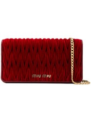 Miu Miu Quilted Wallet On Chain Red