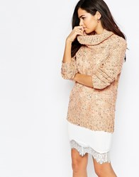 Ax Paris Speckle Polo Neck Jumper Pink