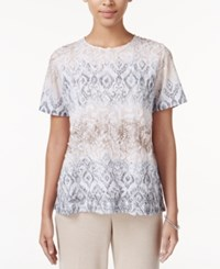 Alfred Dunner Acadia Collection Textured Printed Top Multi