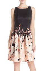 Women's Chetta B Floral Print Shantung Fit And Flare Dress