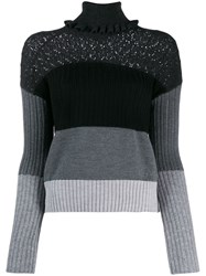 Kenzo Striped Knitted Jumper Black