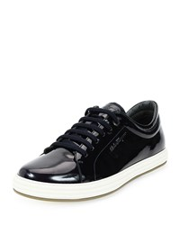Salvatore Ferragamo Newport Patent Leather Low Top Sneaker Navy