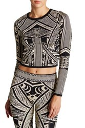 Wow Couture Printed Long Sleeve Cropped Shirt Beige