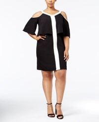 Ny Collection Plus Size Cold Shoulder Popover Dress Oxford