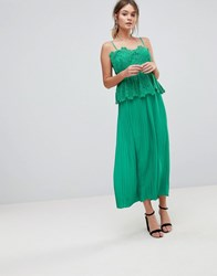 Liquorish Pleated Midi Slip Dress With Lace Detail Green