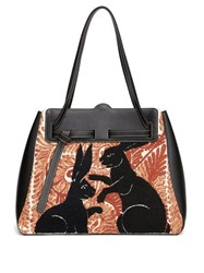 Loewe Rabbit Embroidered Leather Bag Red Multi