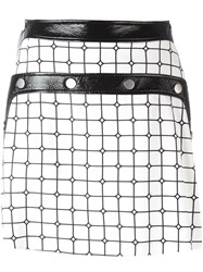 Courreges Plaid A Line Skirt Black