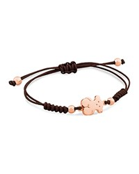 Tous Bear Charm Knotted Cord Bracelet Rose Gold