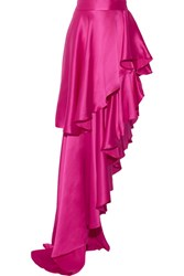 Michael Lo Sordo Asymmetric Ruffled Silk Satin Maxi Skirt Fuchsia