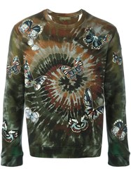Valentino 'Tie And Dye' Embroidered Butterfly Sweatshirt Green