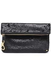 Halston Heritage Woman Sequined Leather Clutch Black
