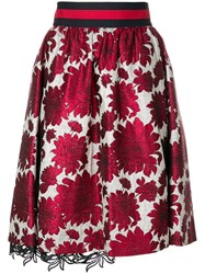 Bazar Deluxe Floral Jacquard A Line Skirt Red