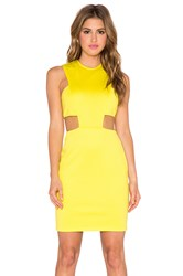Twin Sister Cut Out Waist Bodycon Dress Yellow