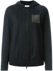 Brunello Cucinelli Metallic Pocket Zipped Hoodie Grey