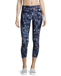 Lucas Hugh Inco Cropped Sport Leggings Midnight Peru Print