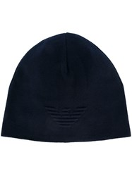 Emporio Armani Embroidered Logo Beanie Blue