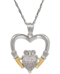 Macy's Diamond Accent Claddagh Pendant Necklace In Sterling Silver And 14K Gold Two Tone
