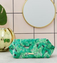 Skinnydip Green Fronds Leaf Print Make Up Bag