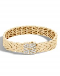 John Hardy Modern Chain Bracelet In 18K Gold With Diamond Clasp