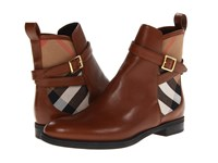 Burberry Richardson Chestnut Brown House Check Women's Dress Pull On Boots Tan