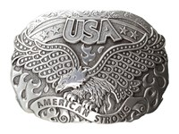 Mandf Western American Strong Usa Eagle Oval Buckle Silver Belts