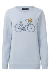 Sugarhill Boutique Floral Bicycle Sweater Light Blue