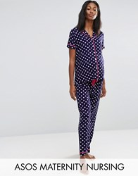 Asos Maternity Nursing Traditional Pyjama Spot Shirt And Trousers Set Navy White