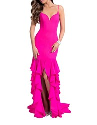 Glamour By Terani Couture Solid Ruffle Gown Fuschia