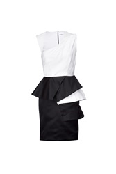 Prabal Gurung Black White Satin Peplum Dress Black
