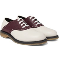 Bottega Veneta Two Tone Leather Derby Shoes Cream