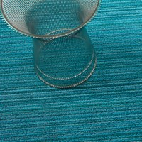 Chilewich Skinny Stripe Indoor Outdoor Shag Mat Turquoise Big Mat 3 Ft X 5 Ft Blue Brown Green