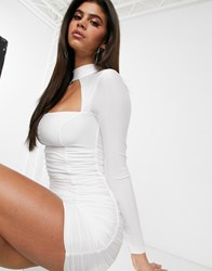 Tiger Mist Mesh Sleeve Ruched Bodycon Dress In White