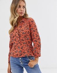 Pimkie Long Sleeve Shirt In Orange Paisley Print
