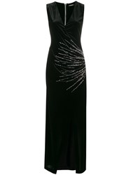 Balmain Plunge Neck Wrap Dress Black