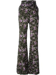 Rochas Floral Flared Trousers Green