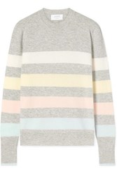 La Ligne Aaa Candy Striped Wool And Cashmere Blend Sweater Gray